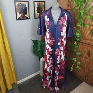Vintage Kimono Style House Robe Blue Size 2X